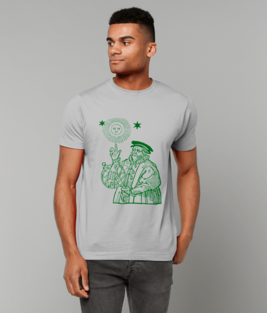 The Old Astronomer T-shirt - green on grey