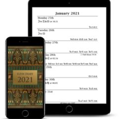 PDF version of the 2021 Elfin Diary on a smartphone and a tablet